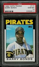 Barry Bonds Pirates 1986 Topps Traded #11T Rookie Card rC PSA 10 Gem Mint QTY