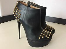 Kurt Geiger Kg Shoe Boots, Uk 5 Eu38, Black Leather With Gold Spikes, Worn Once