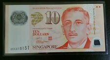 Singapore $10 Polymer Banknote With Fancy Number 515151 GEM UNC