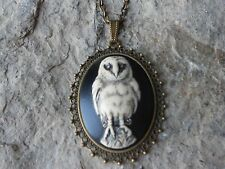 -BARN OWL (HAND PAINTED) CAMEO PENDANT NECKLACE - OWL, HALLOWEEN, GOTH, WICCA
