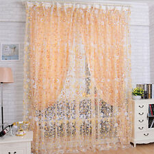 Print Floral Voile Door Sheer Window Curtains Room Curtain Divider 100X200CM N