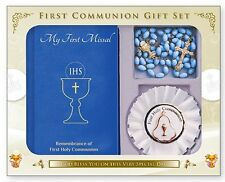 FIRST HOLY COMMUNION Missal Book Rosette & Communion Rosary Beads Catholic Gifts