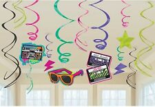12 x 1980 1980's 80's Disco Birthday Party Hanging Foil Swirl Decorations