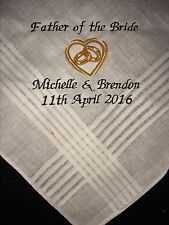 Father of the Bride personalised embroidered Handkerchief present hankie favour