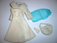 1966 London Tour #1661 off-white VINYL coat doll clothes Vintage Barbie