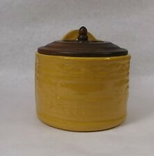 Vintage Bauer Pottery RARE CHINESE YELLOW GLAZED Salt Box, Crock w/ raised Ivy