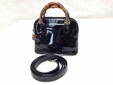 Authentic GUCCI Small Hand Bag Shoulder bag 2 way Leather Black Vernis 5i30779
