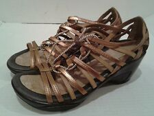 Women's JAMBU Troy Golden Bronze Leather Strappy Wedge Sandals Shoes Size 8.5  M