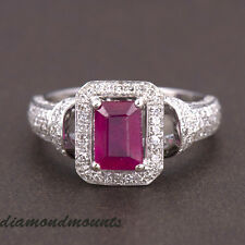 Genunine 14k Solid White Gold Blood Red Ruby Natural Diamond Wedding Ring