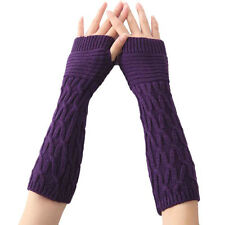 Winter Knitted Long Fingerless Gloves Womens Ladies Arm Sleeve Warm Soft Mitten