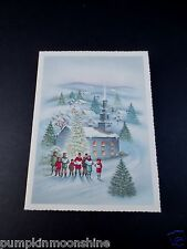 #J497- Vintage Unused Glitter Xmas Greeting Card Holiday Carolers Singing