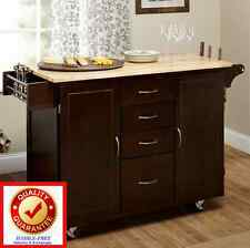 Kitchen Island Cart Portable Rolling Utility Storage Cabinet Solid Wood Top