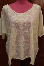 Johnny Was biya 3J Workshop Ivory Embroidered Blouse Tunic Top L Large