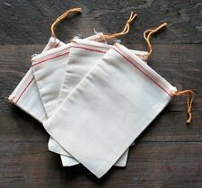 25 (5x7) Cotton Muslin Red Hem and Orange Drawstring Bags