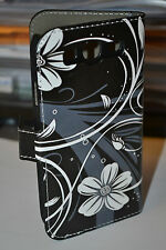 Black/White Orchid Design Leather Wallet Card Case Cover for Samsung Galaxy S3