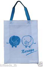 NaRaYa Reusable Shopping Bag Tall Sz Blue Elephant Handle White Spunbond New Eco