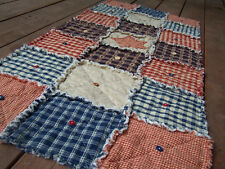 Homespun Frontier Primitive Table Rag Quilt Runner w/Buttons - Handmade in NJ
