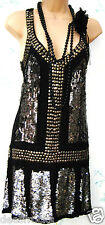 SIZE 8 DECO STYLE FLAPPER CHARLESTON GATSBY RETRO SEQUIN DRESS BLACK US 4  EU 36