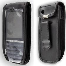Nokia Asha 300 Handytasche Ledertasche mit Gürtelclip + Sichtfenster
