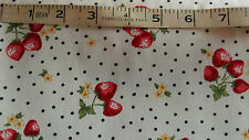 FAT QUARTER COTTON WHITE STRAWBERRIES FABRIC 44 INCH WIDE BY ROSE A