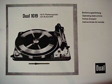 DUAL 1019 TURNTABLE OWNER'S MANUAL 25 Pages Multi-Lang