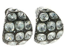 Kenneth Jay Lane Black and White Large Clip-on Crystal Earrings