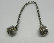 """Authentic Pandora """"Gold Hearts Safety Chain"""" 790307 Silver + 14kt Gold 925 ALE"""