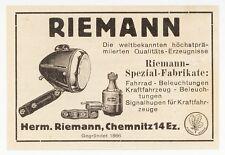 CHEMNITZ, Werbung 1939, Riemann Fahrrad-Beleuchtung-Kraftfahrzeug Auto Lampen
