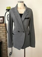 ALEXANDER WANG Gray Leather Trim, Cotton Double Breasted Boyfriend Jacket Size L