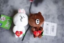 Valentine's Gift 2016 NAVER LINE APP Plush Brown Cony Plush Doll Keychain(1pair)