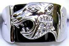 18K GOLD EP CZ ROUND CUT MENS PANTHER DRESS RING sz  10 or  T 1/2