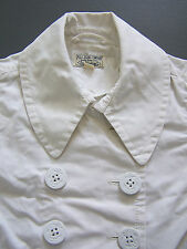 Polo Jeans Company Cotton Pea Coat Women's Small White Ralph Lauren Vtg RLP526