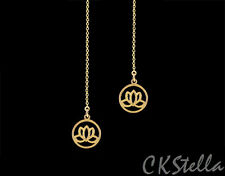 *CKstella*  Gold Lotus GP Flower Threader 14K Gold gf Ear Thread Earrings
