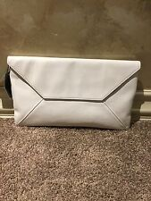 NWT Brooks Brothers Pebbled Leather Magnetic Flap-over Envelope Clutch Ivory