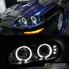 Blk Smoked 1998-2002 Chevy Camaro LED Halo Projector Headlights Left+Right 98-02
