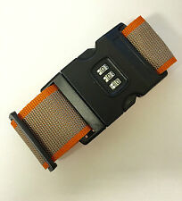 Adjustable Combination Luggage Strap Travel Baggage Tie Down Belt ORANGE STRIPE