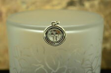 SILVER PLATED CIRCLE WITH CROSS PENDANT CHARM #X-14335