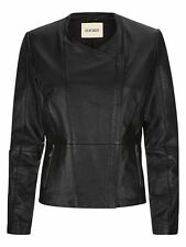 Havren Leather Jacket Biker Ladies UK 16 Black RRP £299.99 Box1432 m