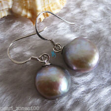 11-12mm Silver Gray Baroque Freshwater Mother of Pearl Dangle Earrings D2S R AC