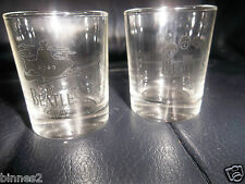 THE BEATLES STORY SHOT GLASSES - SMALL NIP GLASSES x 2 TWO NEW UNUSED YELLOW SUB