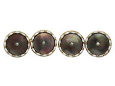 Mother of Pearl & Seed Pearl, Enamel 9ct Yellow Gold Cufflinks - Antique - C1910