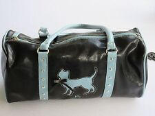 Black Leather Satchel with Light Blue Piping& Cat / Fashion Express