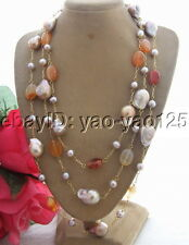 R030409 64'' 20mm Bead-Nucleated Pearl&Carnelian Necklace