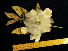 "Millinery Flower 5"" Peony Velvet Chiffon Ivory White for Hat Wedding + Hair Y235"