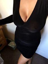 NUOVO senza etichetta SLINKY BLACK Wrap Over tuffo Vestito LBD taglia 8 Celeb Wiggle Festa Boutique