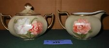 Vintage Royal Munich ZS & Co Bavaria Sugar Bowl Creamer Set Hand Painted Chic