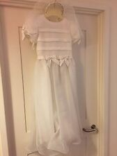 Little Girls Bridesmaid/ First Holy Communion Dress ,  With Veil And Hair Band
