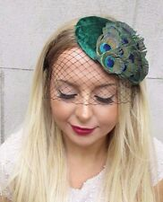 Green & Black Peacock Feather Birdcage Veil Feather Fascinator Hat Hair Vtg 2585