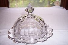 Vintage Pressed Glass Round Butter Dish w/ Lid - Paneled w/Starburst Bottom