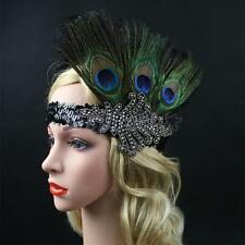 Black Peacock Feather Headpiece Vintage 1920s Headband Flapper Great Gatsby
